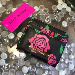Betaey Johnson Small Wallet Roses w/ Gold Lining